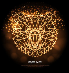 Abstract polygonal tirangle animal bear neon sign vector