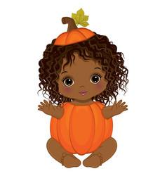 African american baby girl cute little pumpkin vector