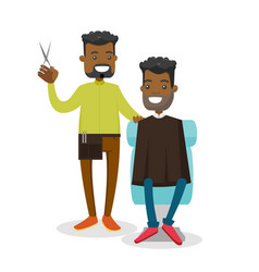 African barber making a haircut to a young man vector