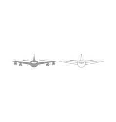 Airplane the grey set icon vector