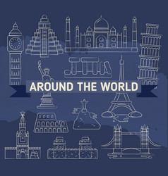 around world linear icons - famous landmarks vector image