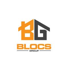 B g construction logo designs for real estate vector