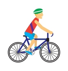 Biker with Bicycle in Flat Design vector