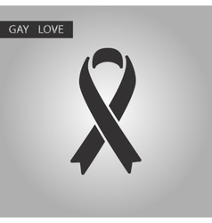 Black and white style icon gays hiv ribbon vector