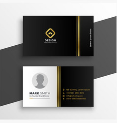 Black golden premium business card design vector