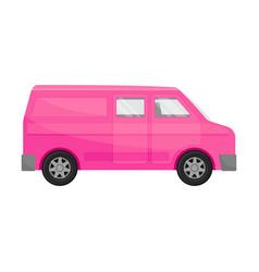 Bright pink combi minivan on vector