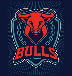bull mascot emblem design template vector image