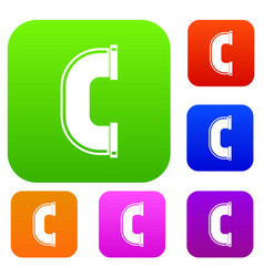 C joint pipe set color collection vector