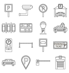 Car parking icons set outline style vector