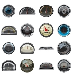 Car speedometers set realistic style vector image vector image