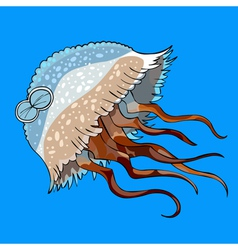 cartoon jellyfish swimming vector image