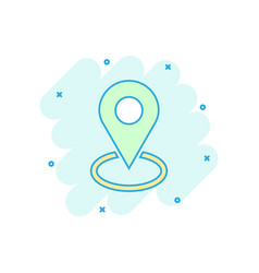 Cartoon pin location icon in comic style vector