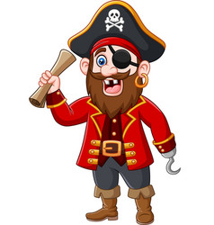 cartoon pirate captain holding a treasure map vector image