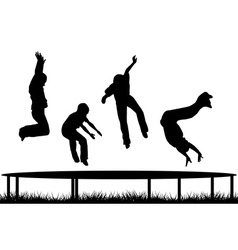 Children silhouettes jumping on garden trampoline vector