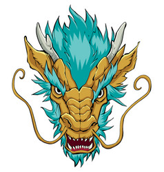 Chinese dragon head gold vector