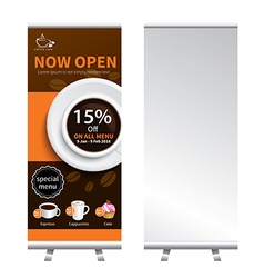 Coffee roll up banner stand design vector