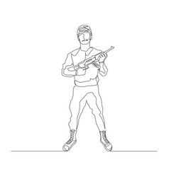 Continuous one line soldier in military uniform vector