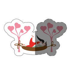 Couple lying down hammock shadow vector