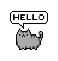 Cute kitten domestic pet pixel saying hello vector