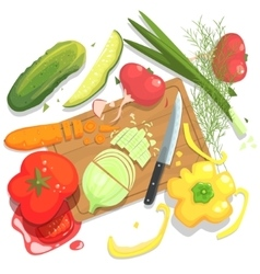 Cutting Vegetables With Board And vector