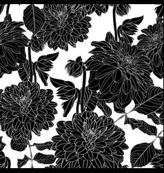 dahlia seamless pattern white line flow vector image