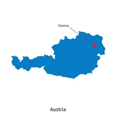Detailed map austria and capital city vienna vector