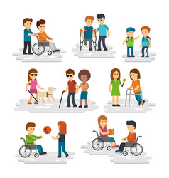 Disability person flat young disabled vector