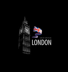 drawing big ben in london on a white vector image