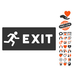 Emergency exit icon with love bonus vector
