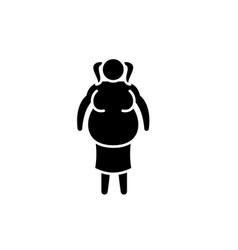 fat woman black icon sign on isolated vector image