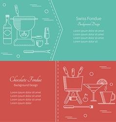 Flat icon banner fondue vector image