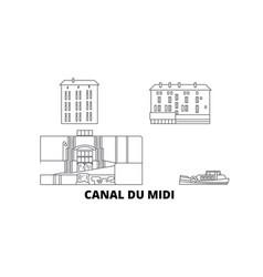 France canal du midi line travel skyline set vector