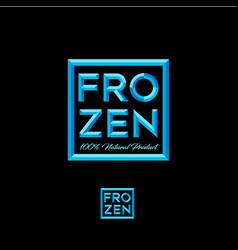 Frozen logo blue crystal letters frame vector