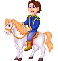 Funny men with horse cartoon vector