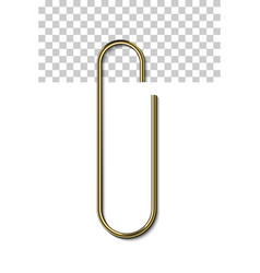 Gold metal paperclip vector