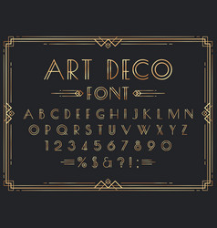 Golden art deco font luxury decorative 1920s vector