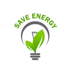 Green leaf light lamp bulb save energy icon vector