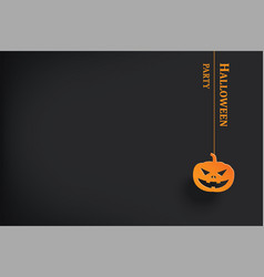 halloween party invitation with pumpkin hanging vector image