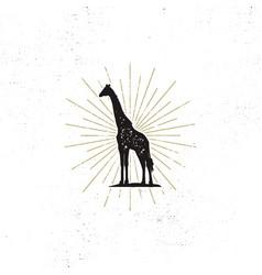 Hand drawn giraffe silhouette vector