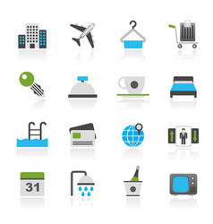 Hotel motel and travel icons vector