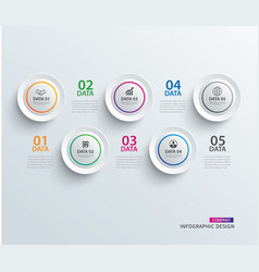 infographics circle paper with 5 data template vector image