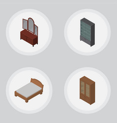 Isometric furniture set of sideboard drawer vector