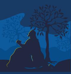 jesus christ prays in the garden of gethsemane vector image