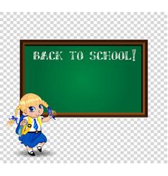 Kawaii school girl near blackboard with chalk vector