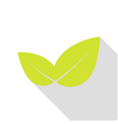 leaf sign pear icon with flat style vector image