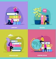 Library flat design concept vector