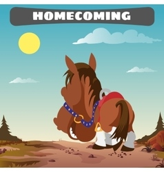 Lone horse returns home the wild west landscape vector