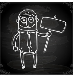 Man with a Sign Drawing on Chalk Board vector
