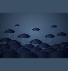 Many umbrellas under rain storm business problem vector