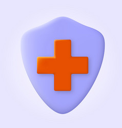 medical health protection shield with cross virus vector image